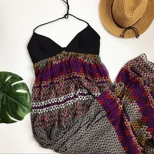 Mara Hoffman Maxi Dress Halter Geometric Silk S